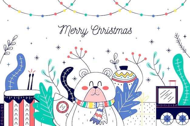 Новогодние игрушки в руке нарисованы
