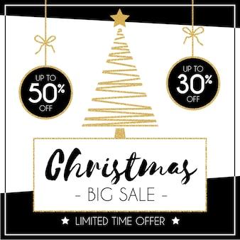 Плоская рождественская распродажа баннер