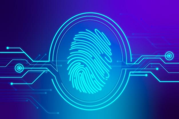 Синий фон с неоновыми отпечатками пальцев