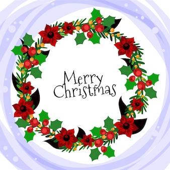 Веселый рождественский венок с цветком пуансеттия