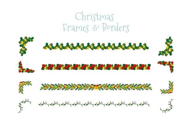 クリスマスデザインのフレームと枠線