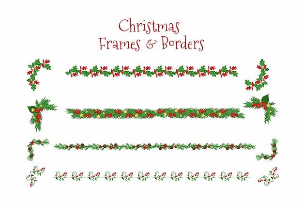 フラットなクリスマスフレームとボーダー