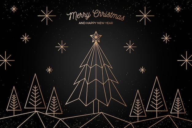 アウトラインスタイルのゴールデンクリスマスツリー