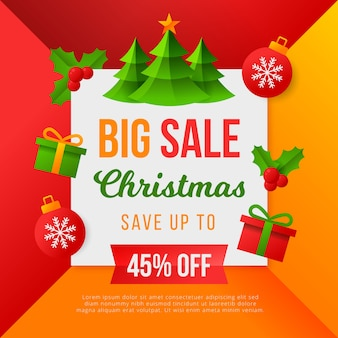 Плоская рождественская распродажа с рождественскими вечнозелеными деревьями