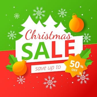 Плоская рождественская распродажа с золотыми елочными шарами