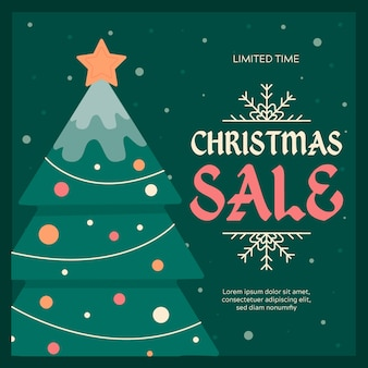 Плоская рождественская распродажа и елка со струнными огнями