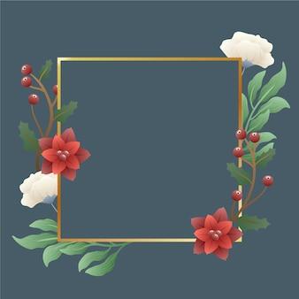 Золотая рамка с яркими зимними цветами