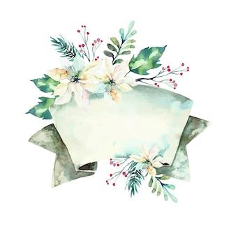 Милые зимние цветы с пустым баннером