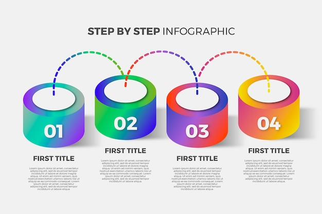 Шаблон градиента инфографики шаги
