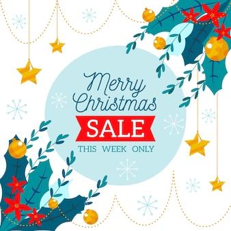 Рождественская распродажа концепции в плоском дизайне