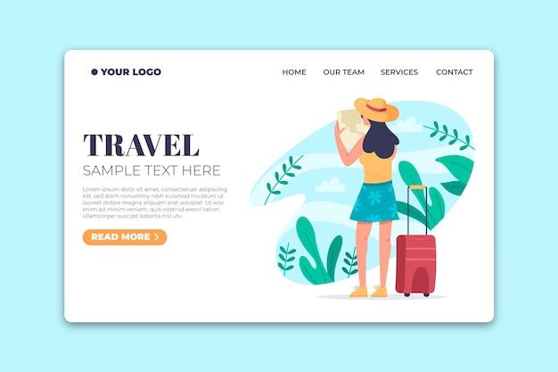 Целевая страница шаблона путешествия с плоским дизайном