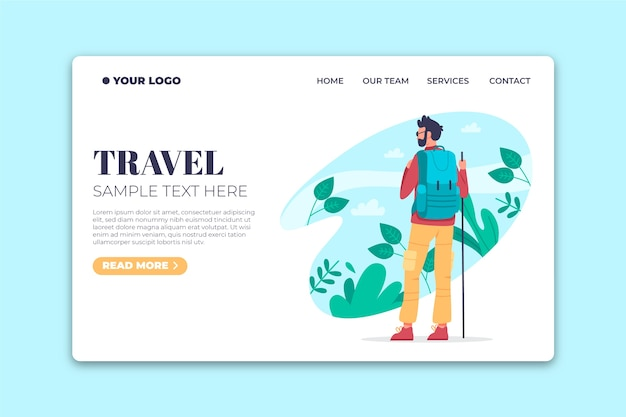 旅行フラットデザインテンプレートのランディングページ