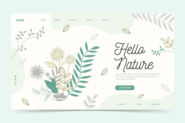 手描きの自然なランディングページテンプレート