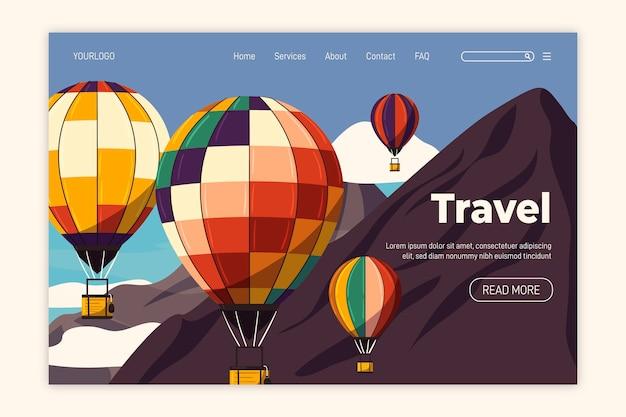 フラットなデザインの旅行のリンク先ページ