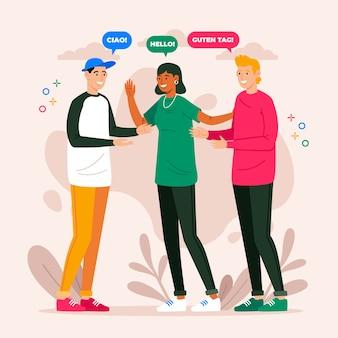 異なる言語で話している異なる人々