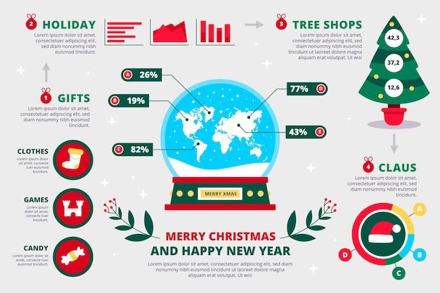 クリスマスのインフォグラフィックのコレクション