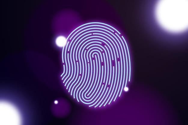 Отпечаток пальца неоновый фон