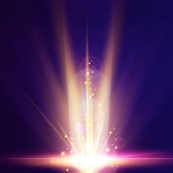 Яркий световой эффект восхода земли