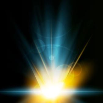 創造的な地球の日の出の光の効果