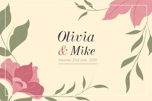 自然保存日付の結婚式の招待状のテンプレート