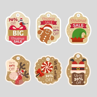 フラットなデザインのクリスマスセールタグコレクション