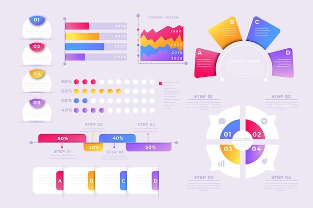 Коллекция элементов градиента инфографики