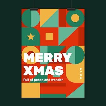 Рождественский постер шаблон с красочными геометрическими фигурами