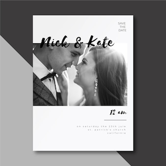 かわいいカップルの結婚式の招待状