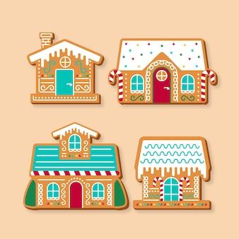 Плоский дизайн коллекции пряничного домика