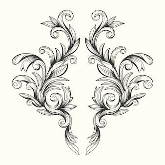 現実的な手描きのバロック様式の装飾的なボーダー