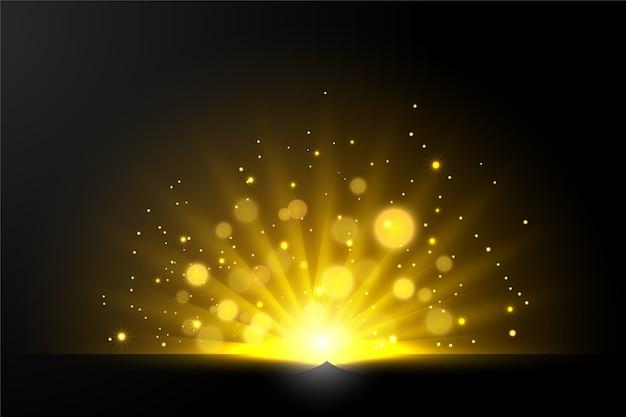 光沢のある日の出の光の効果