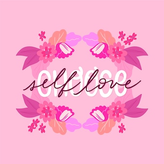 花と自己愛のレタリング壁紙