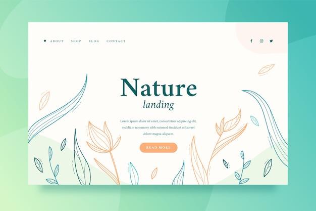 自然のランディングページの手描きテンプレート