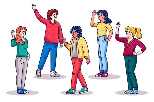 Молодые люди машут рукой в мультяшном стиле