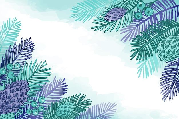 Акварельные елки ветви фон