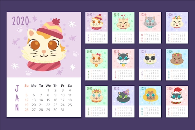 年間カラフルなスケジュールカレンダー
