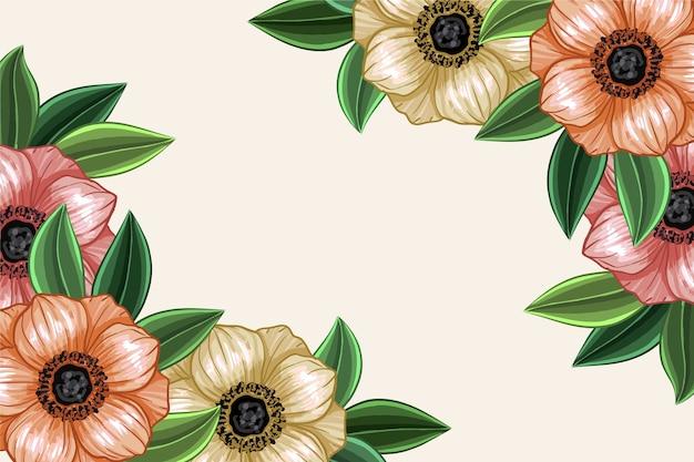 手描きの背景に鮮やかな花