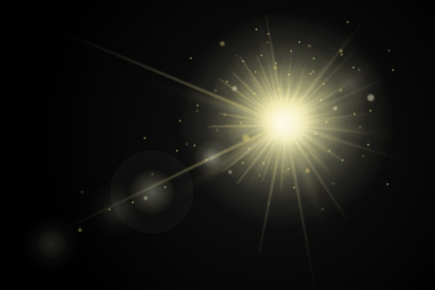 明るい日の出の光の効果