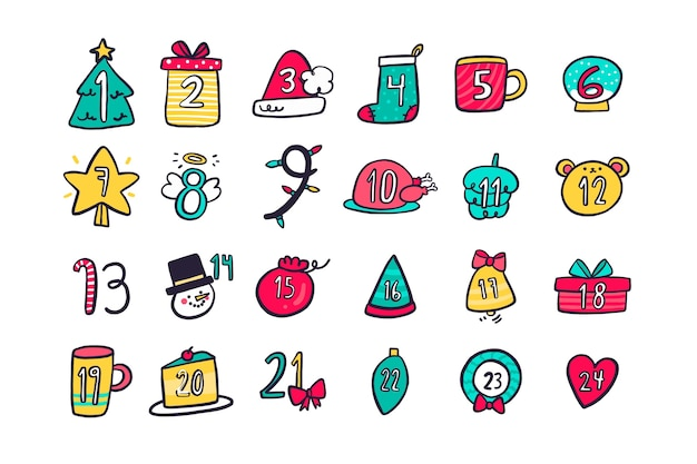 クリスマスの日の最小限のシンボルカウントダウンカレンダー