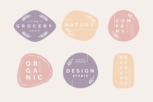 Минимальная коллекция логотипов в пастельных тонах