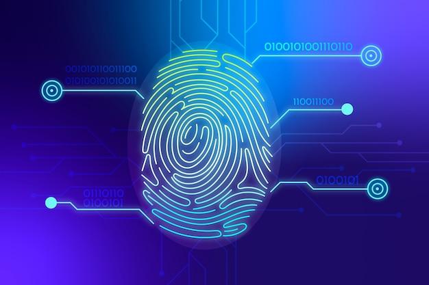 Синий неоновый фон отпечатков пальцев