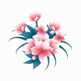 葉とユリのヴィンテージの花の花束