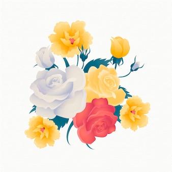 黄金のバラとヴィンテージの花の花束