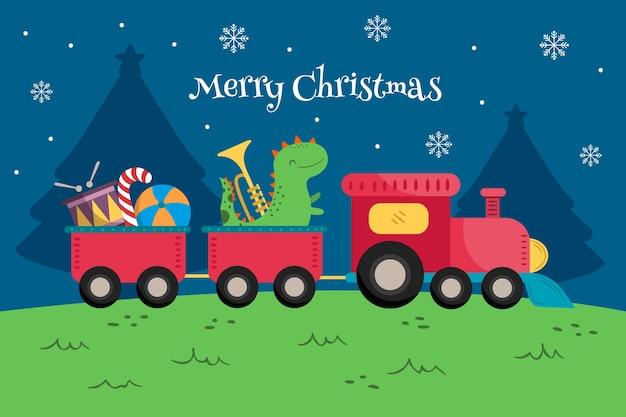 Боком игрушечный поезд с динозавром