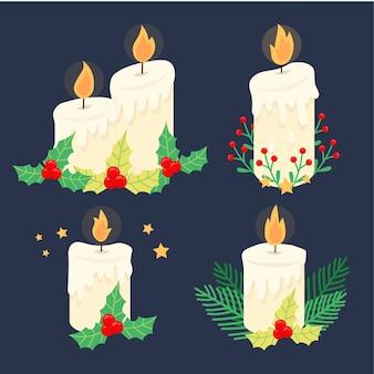 キャンドルとヤドリギのクリスマスの装飾