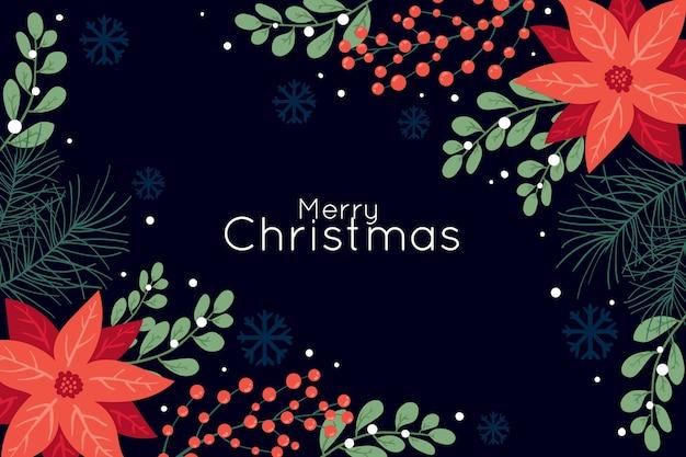 Темный фон с рождественскими цветами