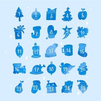 水彩お祝いアドベントカレンダー