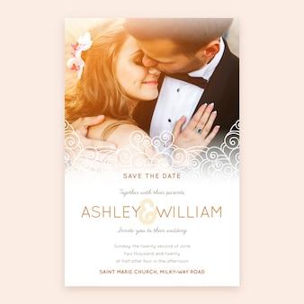 Прекрасный шаблон свадебного приглашения с фото