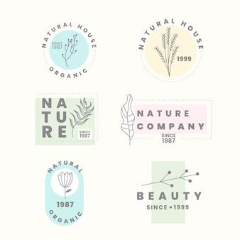 Набор логотипов для естественного бизнеса