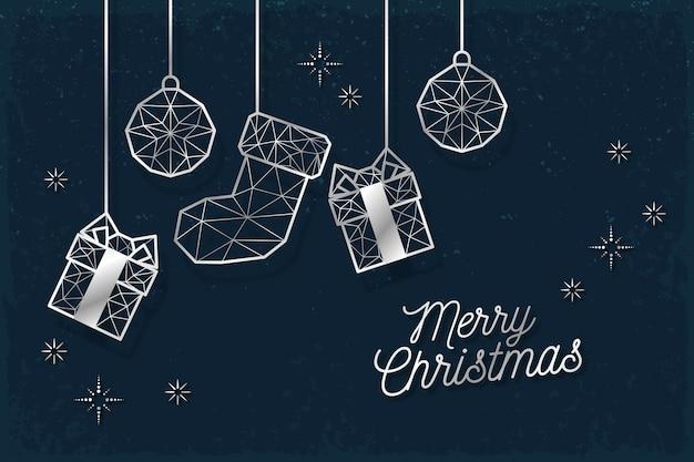 アウトラインスタイルのクリスマス背景コンセプト
